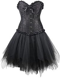 r-dessous Corsagenkleid schwarz Corsage + Mini Rock Petticoat Kleid Korsett Top Gothic Steampunk große Größen