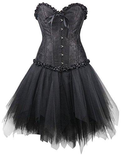 r-dessous Corsagenkleid schwarz Corsage + Mini Rock Petticoat Kleid Korsett Top Gothic Steampunk große Größen Groesse: L