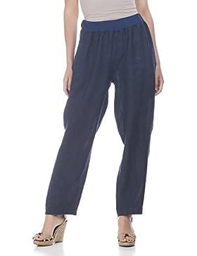 Laura Moretti - Pantaloni di lino con ampia vita elastica