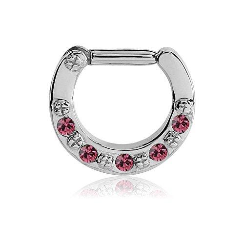 Jewelled Klapp Septum Clicker Ring - Pink