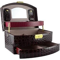 Feibrand Caja Joyero Caja para joyerías Organizador Rojo Vino