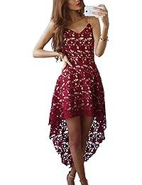 Mujer Sin Mangas V Cuello Encaje Croché Elegante Falda De Banquetes Vino Rojo M