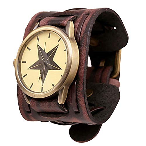 Hili Watch Retro Punk Rock Brown Große Breite Lederarmband Manschette Herrenuhr Cool,Brown