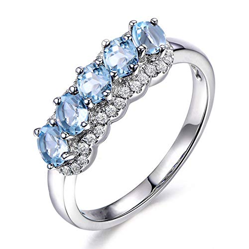 Anyeda Ringe für Damen 925 Sterling Silber Runder Topaz Ring Blue Silver Ringgröße 61 (19.4)