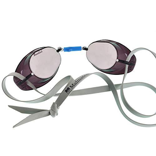Malmsten Schwedenbrille verspiegelt Schwimmbrille, Silber/Grau, One Size