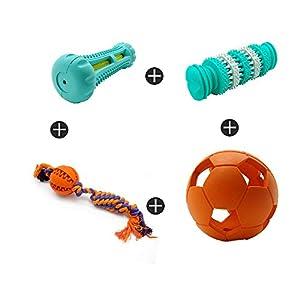 YDBHMM Corde de Balle en Caoutchouc Non Toxique Nourriture pour Chien Traitement Balle de Nettoyage des Dents pour l'entraînement des Animaux domestiques/Jeu/Mastication - 4 Pack