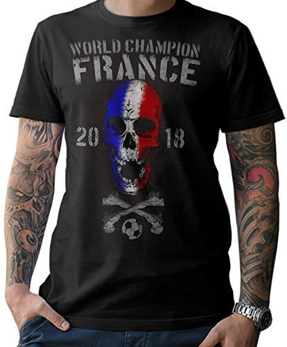 T-Shirt Herren World Champion Frankreich Skull Fußball WM 2018 France Weltmeister S-5XL