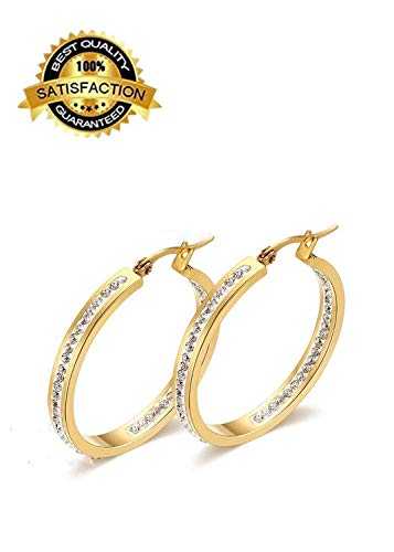 Marilia 38mm Strass vergoldete Ringohrringe, stilvolle und zarte Ohrringe. - Screwback Diamant-ohrringe Für