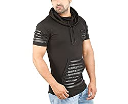 aad6cee19f40 61%off Perfect Creations Mens Cotton And Leather Half Sleeve Black Color  Hooded T-Shirt (Medium