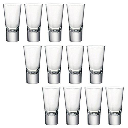 """Bormioli Rocco, Double-Shot-Gläser """"Ypsilon"""", für Wodka usw., aus gehärtetem Glas, 70 ml, glas, 12 Stück"""