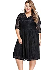 yueyue & FA Lace V de recorte Curvy Skater vestido, color negro, tamaño XXXXL