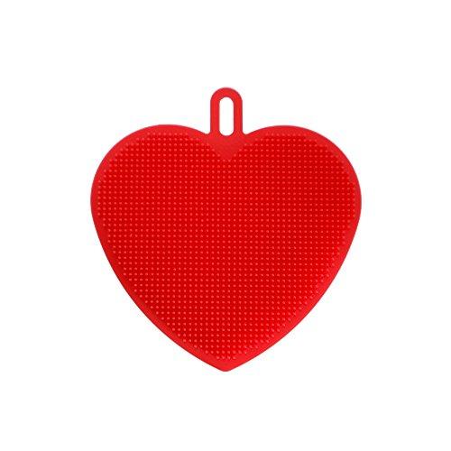TONVER Silica Gel Waschen Schüssel in Herzform Pinsel Mehrzweck Cleanner Universal Bürste Smart Schwamm Reinigung Dish Küche Werkzeug, Pink rot rot S -