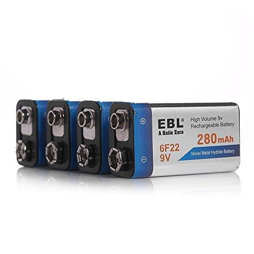 EBL 9V 280mAh Ni-MH Rechargeable Batteries, 4 Pack PP3 6F22 Batteries