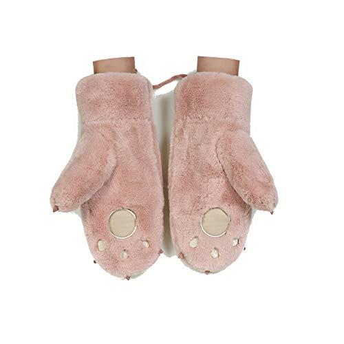 AmDxD Damen Warm Winterhandschuhe Süß Winter Bär Pfote mit Touchscreen Funktion Hell Rose Handschuhe