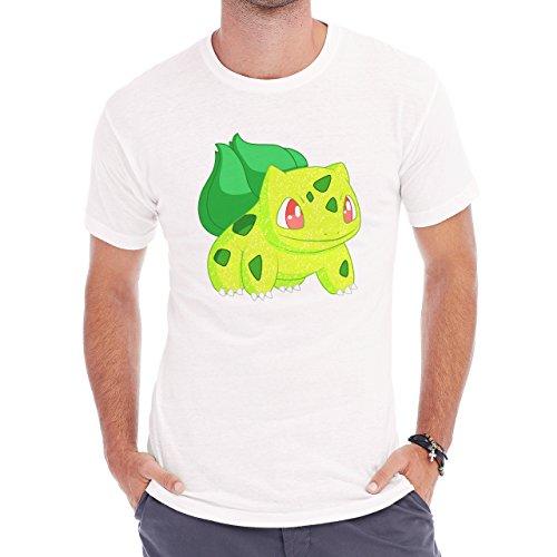 Pokemon Bulbasaur First Generation Bright Yellow Herren T-Shirt Weiß