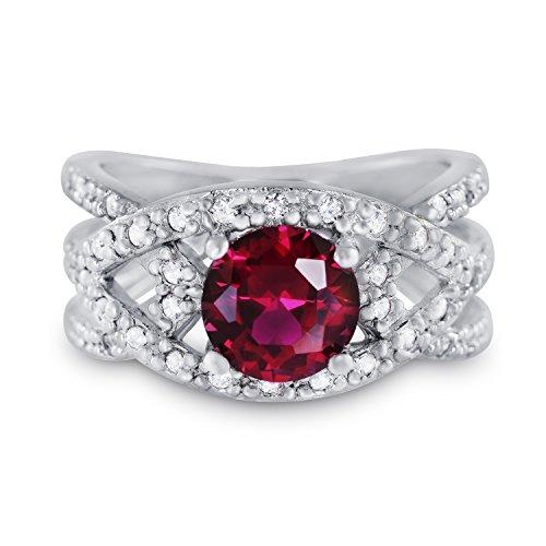 CRIGER Damen Schmuck, breiter rubin-rot Solitär-Ring aus 925 Sterling Silber rhodiniert & Nickelfrei inkl. Etui-Geschenkbox, Ringgröße:53 (16.8 mm Ø)