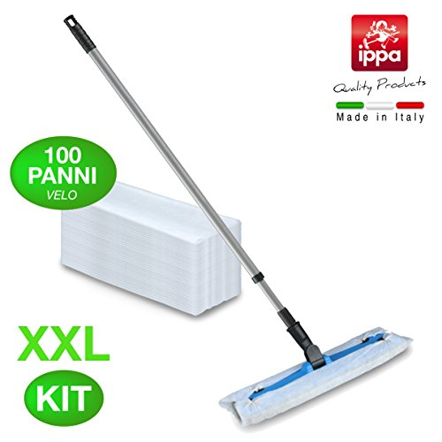 set-per-la-pulizia-dei-pavimenti-base-395-cm-x-11-cm-manico-allungabile-130-cm-e-100-panni-velo-xxl-