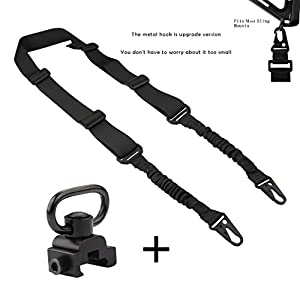 2 Point Gun Sling with QD Sling Swivel Mount Adjustable Elastic Bungee Cord Tactical Rifle Shoulder Strap Two Point Military Army Heavy Duty Airsoft Nylon for Outdoor Sports,Hunting,Shooting by VINILO