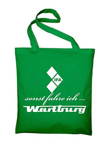 sonst fahre ich Wartburg IFA Logo Jutebeutel, Beutel, Stoffbeutel, Baumwolltasche, natur Grün