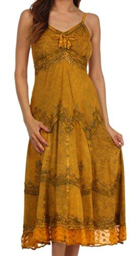 hed Rayon gesticktes verstellbares Kleid - Kupfer - S / M (Renaissance-kleidung Bauer)