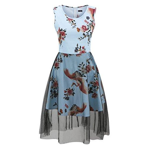 ZAMME Robe trapèze à imprimé floral vintage pour femme Bleu