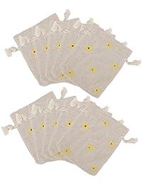 10 X Bolsa de Joyería Decoración Flor Amarilla Yute Regalo para Boda