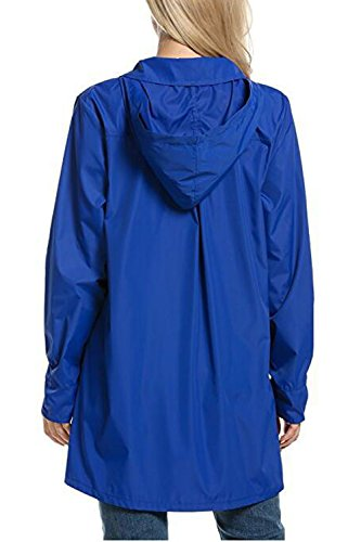 Donna Elegante Felpa Allacciatura Luce Impermeabile Ttrenchcoat Blue