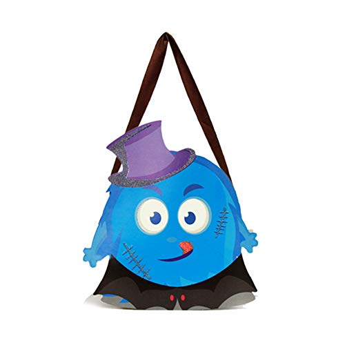 Cosanter Halloween Papier Kleinen Korb Tragbare Süßigkeiten Tasche Kinder Make-up Party Kostüme (Blaues Monster Muster)