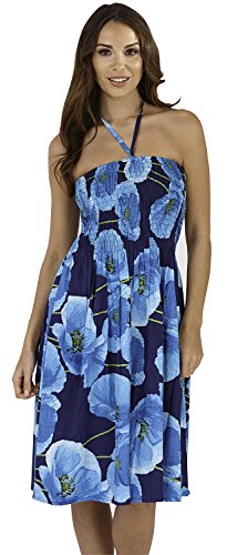 Ladies, Womens 100% Cotton Poppy Print 3 In 1 Bandeau/Halter Summer Dress/Maxi Skirt, Blue, Medium