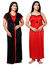 Bailey sells Women's Satin Night Gown/Night Dress/Nighty with Robe Gown 2Pc Nightwear Set Free Size Black & Red