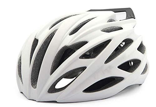 Fire wolf: Casco de Bicicleta de carretera Bicicleta de montaña, Luz equipos integrados y Fibra de carbono, Blanco