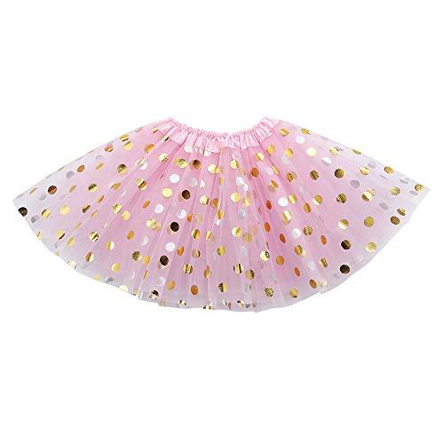 Lazzboy Ragazze/Bambina tutù Tutu Tulle DOT Paillettes Scintillanti Ballettoto Gonna Principessa Dress-up Danza Indossare per 0-8 Anni Costume Festa(3-8 Anni,Rosa)