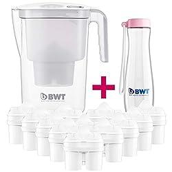 BWT Wasserfilter Vida 2,6l weiß; Jahrespackung 12+1 Filterkartuschen, angereichert mit wertvollem Magnesium + Trinkflasche