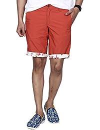 Hammock Men's Reversible Flamingo And Solid Chino Shorts - Orange/Cream