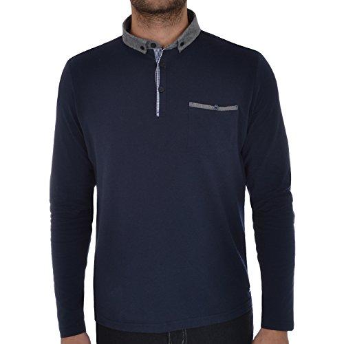 Herren Polo Shirt von Brave Soul 'Kennedy' Umgeklappter Kragen Langärmelig (Hera - Navy) M (Navy Denim-shirt Langarm)