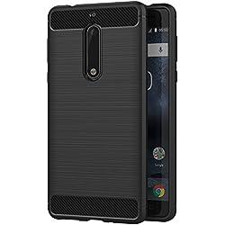 AICEK Coque Nokia 5, Noir Silicone Coque pour Nokia 5 Housse Fibre de Carbone Etui Case (5,2 Pouces)