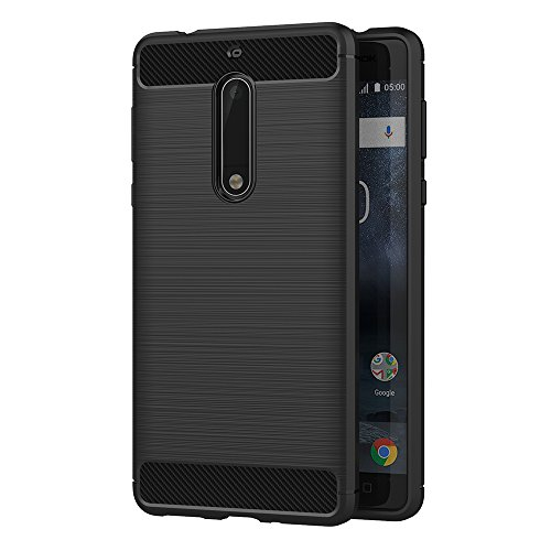 AICEK Nokia 5 Hülle, Schwarz Silikon Handyhülle für Nokia 5 Schutzhülle Karbon Optik Soft Case (5,2 Zoll)