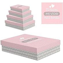 """dcasa - Juego 4 cajas regalo diseño frase """"VIDA BONITA"""""""