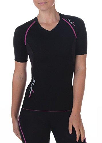 Sub Sports Damen RX Abgestufte Kompressionsshirt Funktionswäsche Base Layer Kurzarm, Schwarz/Rosa, L