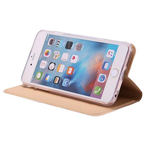 KANTAS Coque PU Cuir pour iPhone 6S iPhone 6 Étui à Rabat Ultra Mince Housse de Etui en Cuir Flip Case pour iPhone 6S/6 Noir Housse Folio avec Fonction Stand Porte-cartes Magnétique PU Leather Couvert Or