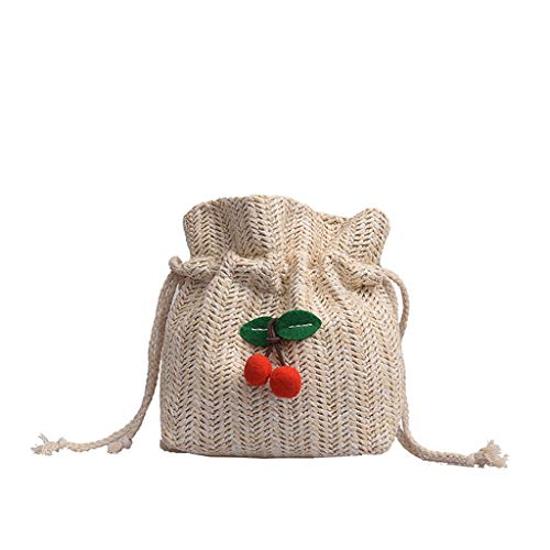 Calvinbi Taschen Damen Umhängetasche/Schultasche/Rattan/Kirsche/Mini Sommer Runde Strandtasche (Dc-rucksäcke Für Jugendliche)