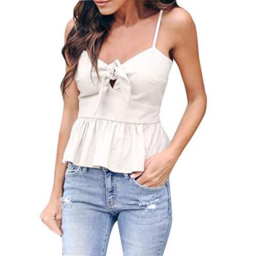 Wawer Damen Top Frauen Arbeiten Sommer Solid Color Sexy V-Ausschnitt Sling Knoten Vest Gebunden, Basic Tanktop Shirts Top Sport T-Shirt Oberteile