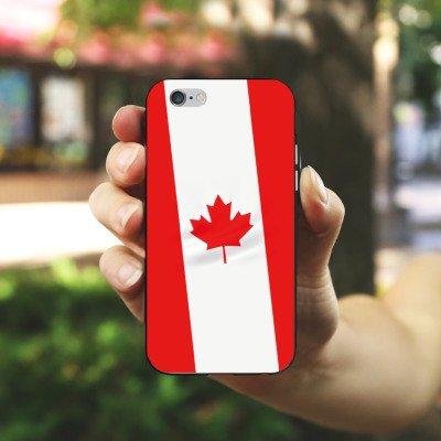 Apple iPhone 4 Housse Étui Silicone Coque Protection Canada Drapeau Canada Housse en silicone noir / blanc