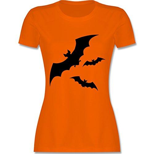 Halloween - Fledermaus - L - Orange - L191 - tailliertes Premium T-Shirt mit Rundhalsausschnitt für Damen (Niedliche Geist Kostüme Für Frauen)