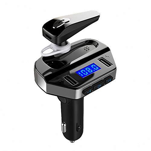 Bluetooth FM Transmitter Auto Radio Adapter, MANLI KFZ Ladegerät Car Kit MP3 Player Bluetooth 4.2 Kopfhörer Anrufbeantworten, 2 USB Anschluss 5V / 2.1A, Wireless Auto Ladegerät für Handy Android iOS - Kopfhörer-adapter-kit