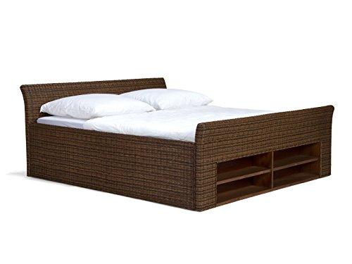 massivum Bett Erato 200x200cm Rattan braun lackiert
