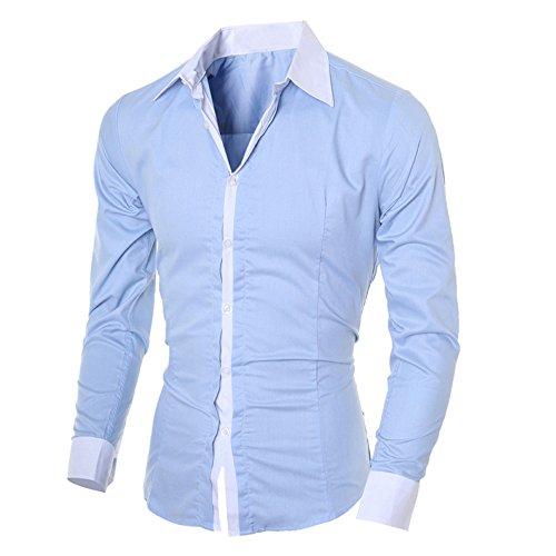 Ihengh felpa maniche lunghe sport cotone uomo poliestere shirt man primavera fashion 2019 nuovi shirt top blouse girocollo manica lunga printing moda casual(blu,large)