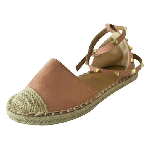 Minetom sandali donna estivo eleganti piatto donna espadrillas caviglia con spalline sandali bassi bocca di pesce sandali a rosa eu 42