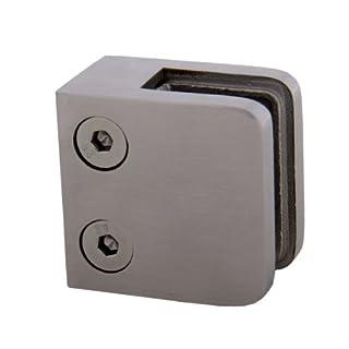 Edelstahl Glashalter Glasklemme 45/45 mm mit flachem Ansatz aus V2A - geeignet für Glasstärke 8,0 mm (S071228-8)