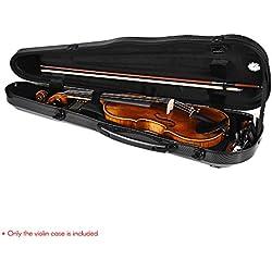 ammoon Étui pour Violon Haute Qualité Taille Réelle Carbon Fiber Hardshell avec Hygromètre Intégré pour 4/4 Violons Fiddle Noir